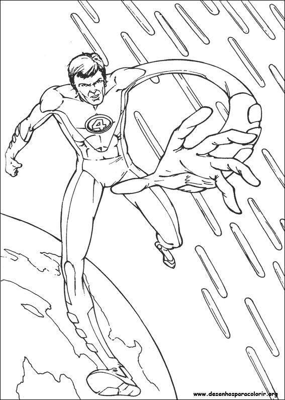 imagens para colorir do quarteto fantastico - Desenhos de Super heróis para colorir jogos de pintar e