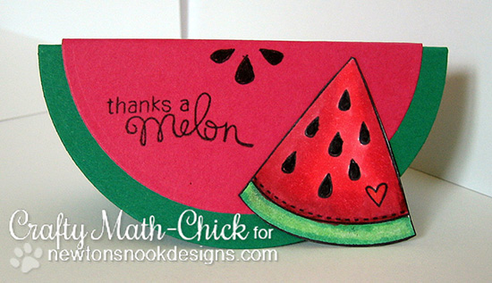 Watermelon card by Crafty Math-Chick | Sweet Summer Stamp Set | Newton's Nook Designs