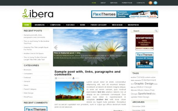Free Wordpress Green Nature Web 2.0 Theme