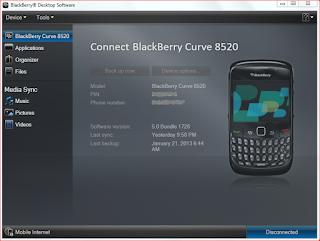 BB desktop software main screen