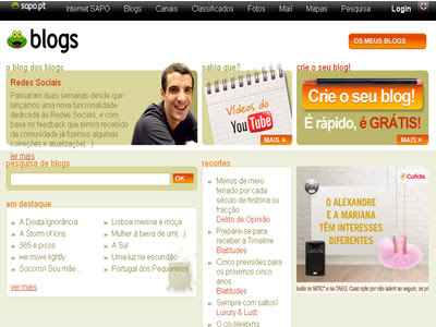 Blogs sapo criar blogs grátis