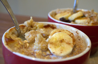 Cinnamon Banana Oatmeal with Raisins  from Behind the Blonde