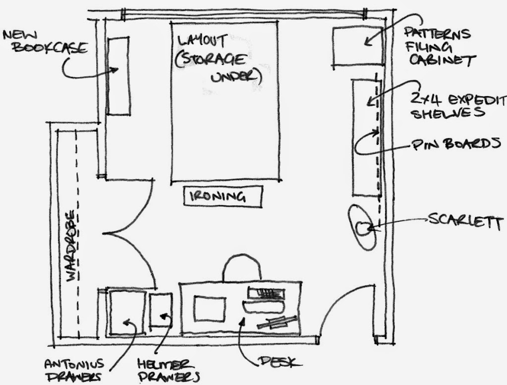 Chip and dale designs april 2014 for Sewing room floor plans