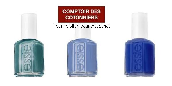 1 vernis Essie OFFERT pour tout produit Comptoir des Cotonniers de couleur bleue acheté + 1 manucure ESSIE offerte à Paris