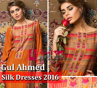 Gul Ahmed Silk Dresses 2016