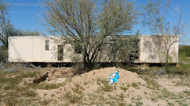 Urban Exploration of Abandoned trailer home at Beeline Dragway ruins near Phoenix, Arizona