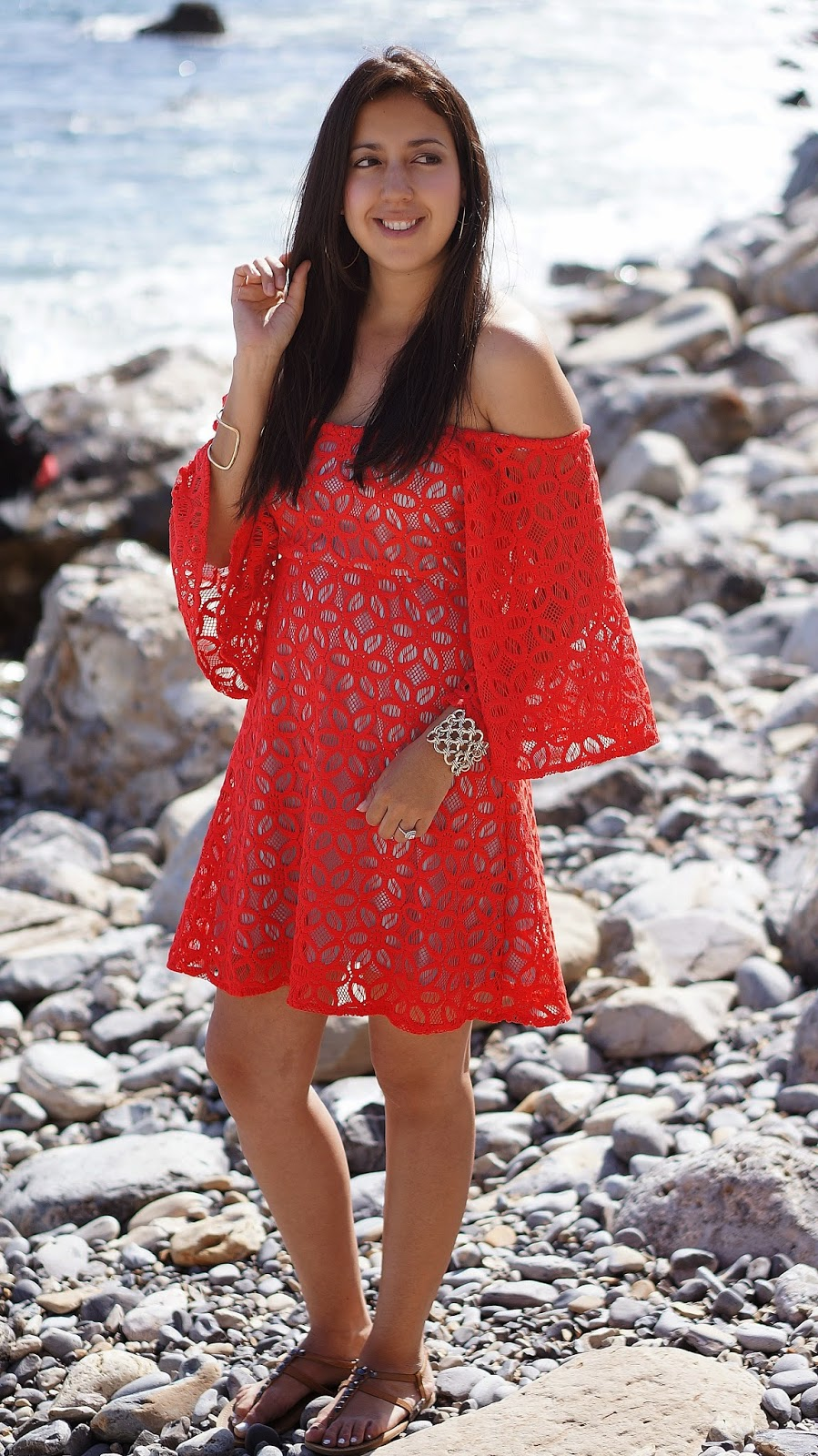 Off the shoulder red dress, Terranea Resort Trail, Summer fashion