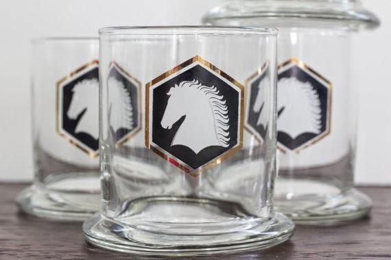 vintage horse glassware