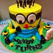 3D Minion With Italian Rainbow Cream Cheese Cake