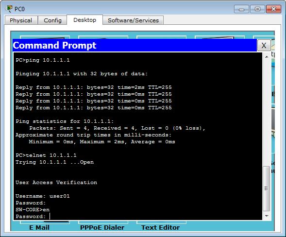 Ping and telnet dari PC0