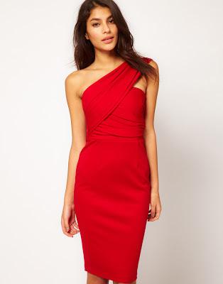 One shoulder red bandage dress