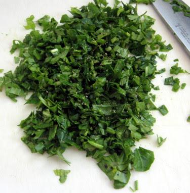 chopped parsley, arugula, and green onion