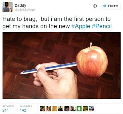 Hilarious meme apple pencil.