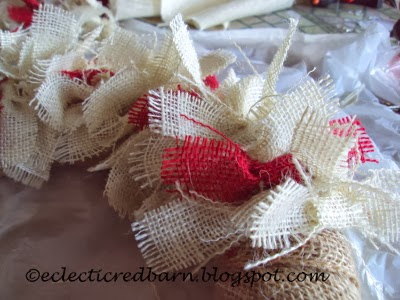 Eclectic Red Barn: Adding burlap ties  to a straw wreath