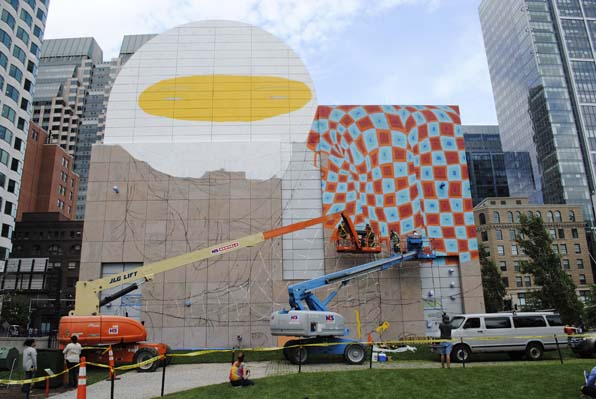 See the os gemeos mural for Dewey square mural