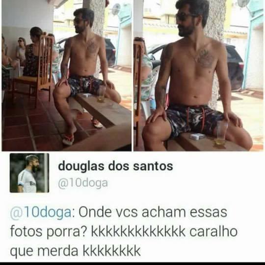 Douglas dos santos comentando no twitter sobre a foto de bermuda tomando cerveja num banco
