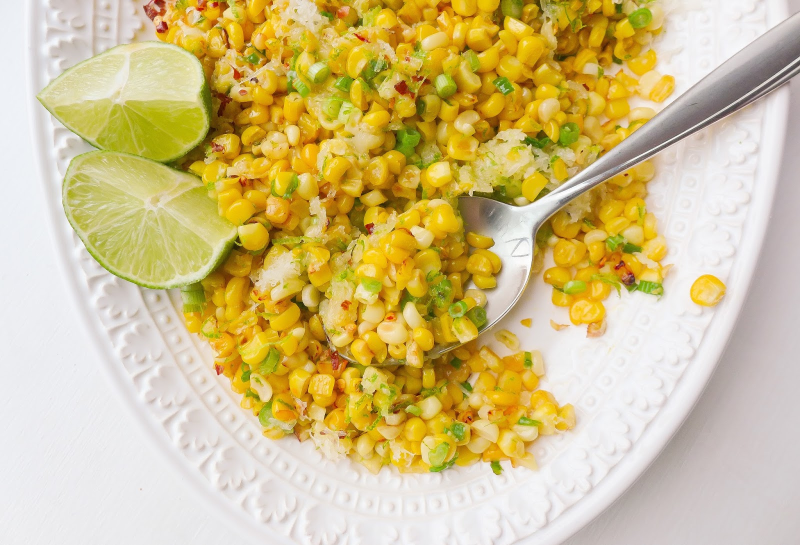 Roasted Corn with Manchego and Lime (adapted slightly from Bon Appetit ...