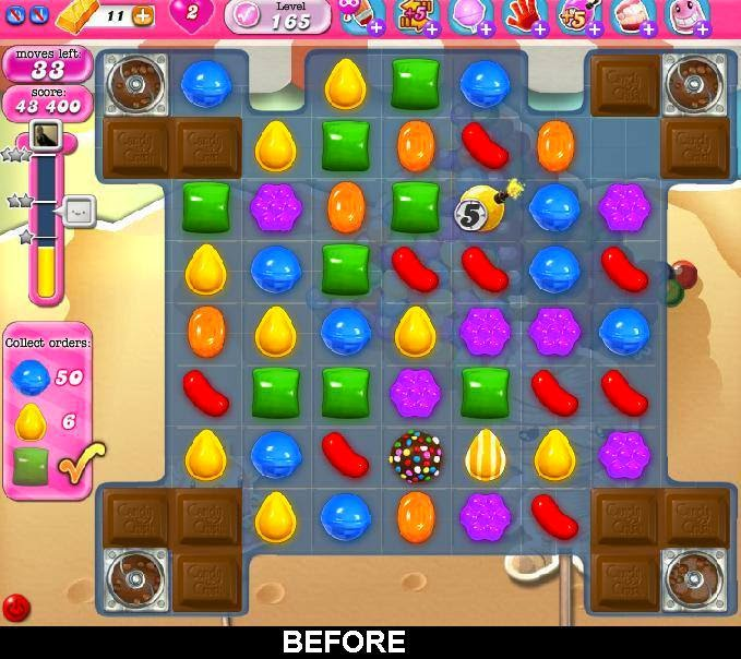 Candy Crush Level 165 Objectives: