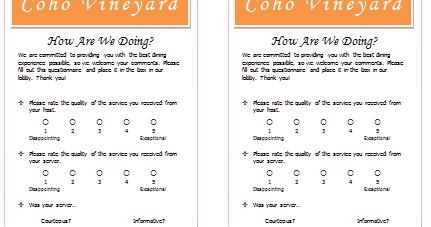 Document Templates Free Restaurant Survey Template for Word – Restaurant Survey Template