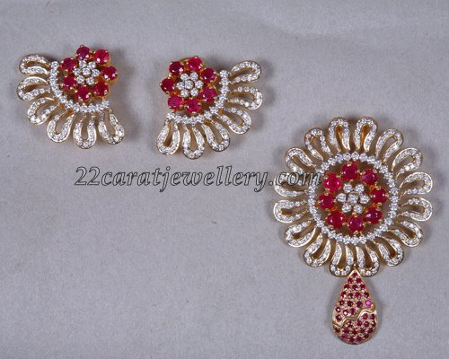 Designer diamod pendant set with ruby combination jewellery designs checkout beautiful 22 carat gold designer diamond pendant set studded with rubys paired with matching designer diamond earrings aloadofball Image collections