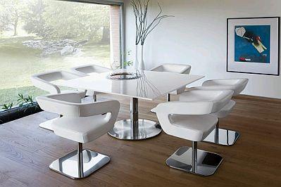 Muebles modernos de comedor de color blanco for Juego de comedor moderno