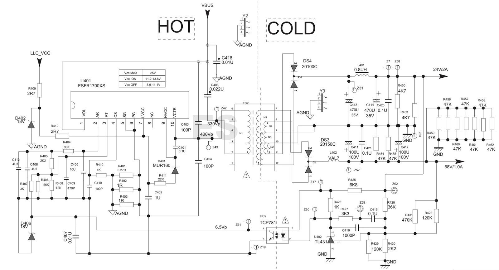 ELECTRONIC EQUIPMENT REPAIR CENTRE TCL 40E371C4PWA1XG SMPS