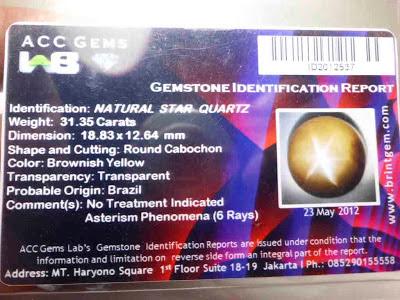 Batu Permata Natural Quartz Star