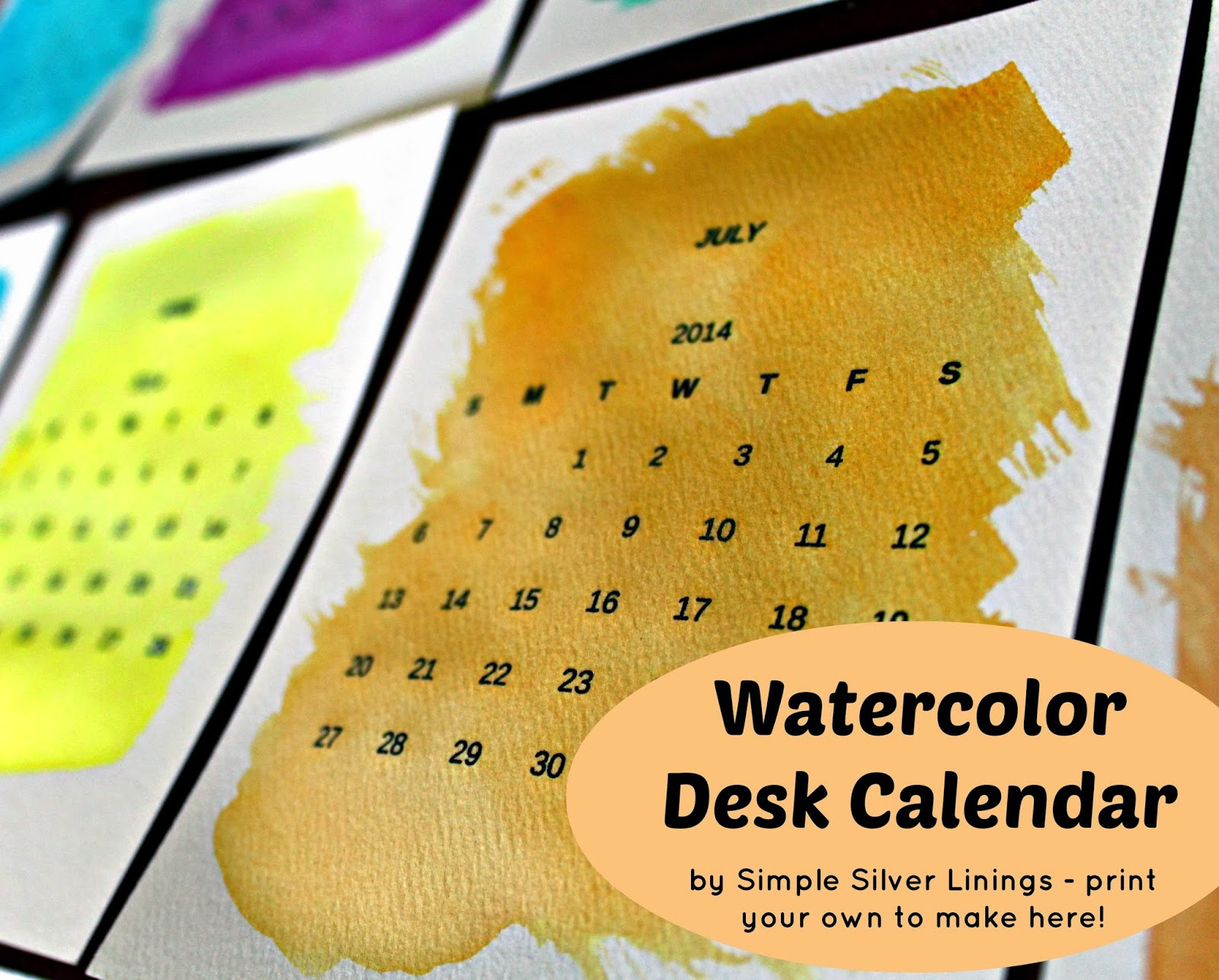 simple silver linings give this watercolor desk calendar a dry run