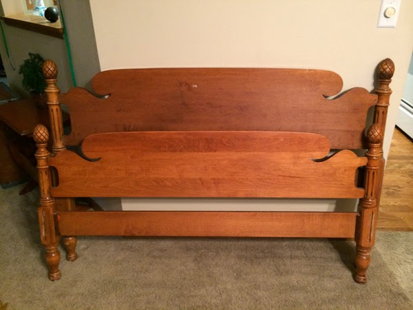 vintage headboard bed frame with pine cone corners