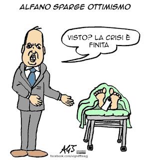 Alfano, governo, crisi, ottimismo, satira vignetta