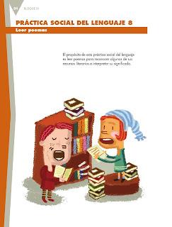 Apoyo Primaria Español 5to grado Bloque III lección 8 Leer poemas