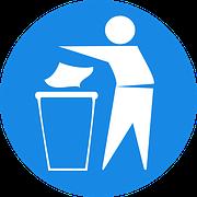 pictograma con muñeco tirando un papel a la papelera