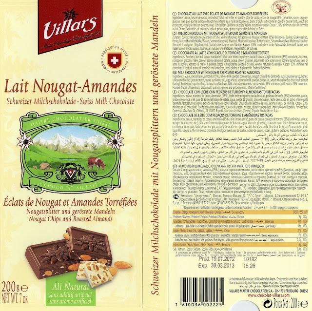 tablette de chocolat lait gourmand villars lait nougat amandes