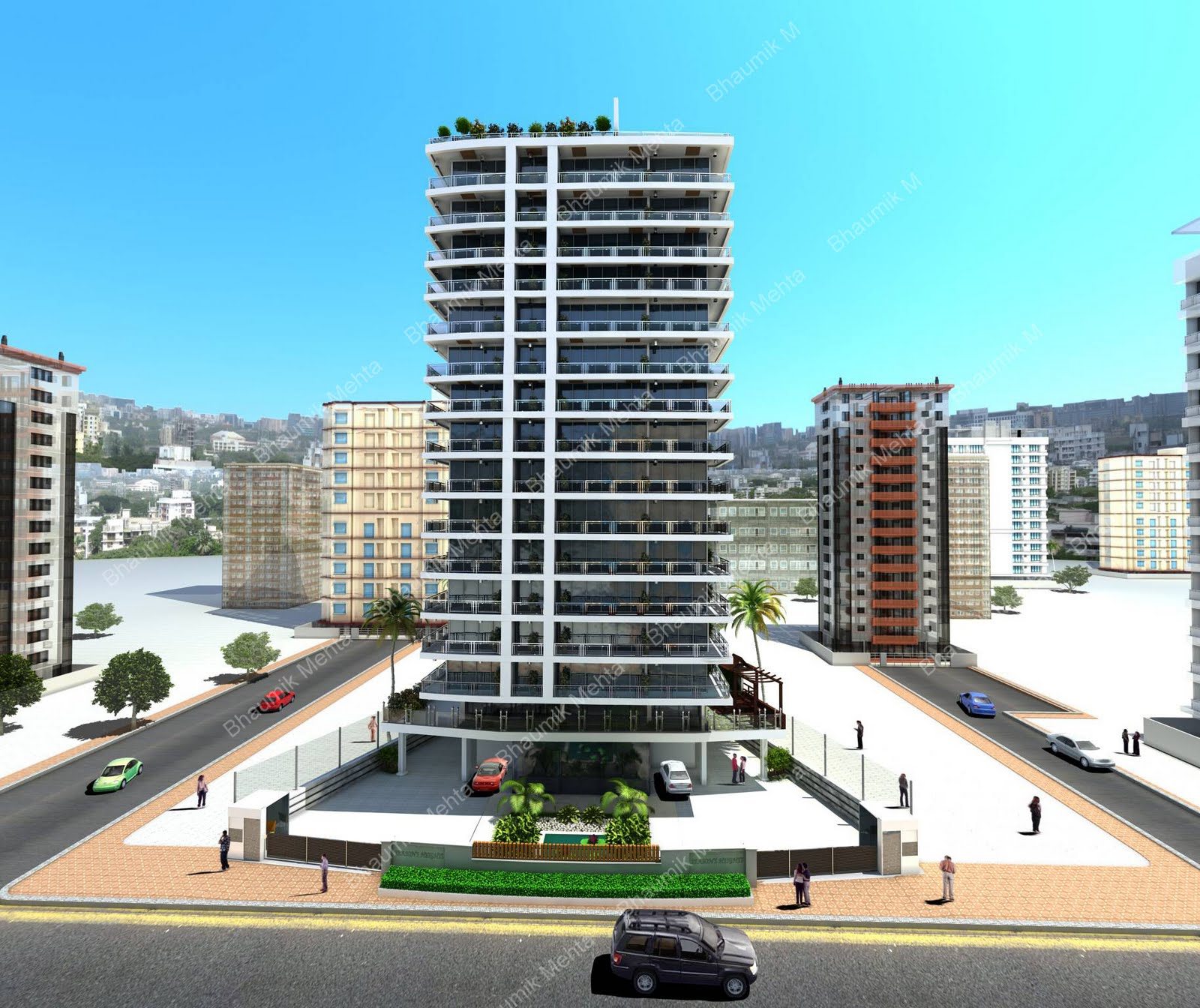 Bhaumik mehta 39 s 3d creations highrise building project for Terrace building