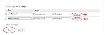 project triggers google form
