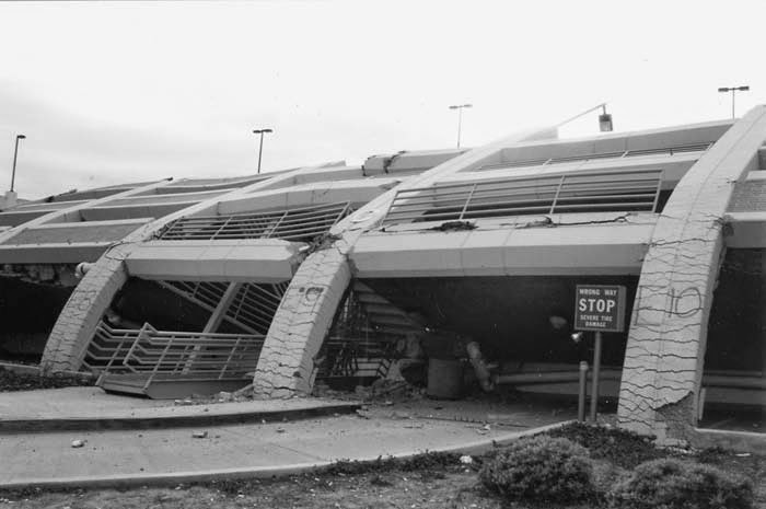 Parking structure that collapsed during the 1994 Northridge earthquake, California State University, Northridge Campus.
