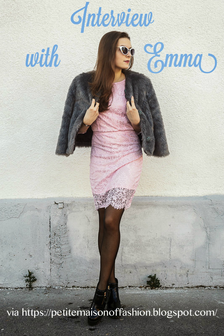 Emma, fashion blogger, wears a chic winter fur coat and pink lace dress