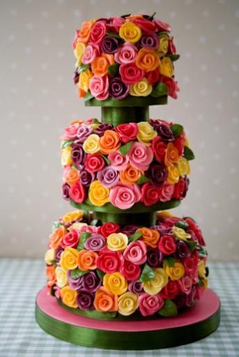 Belgian Chocolate Rose Covered Wedding Cakes