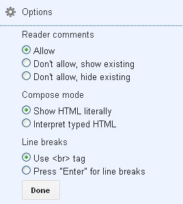 Blogger pages options