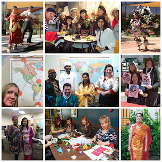 montage of photos from International Ed Week.  Images of staff and students taking part in activities