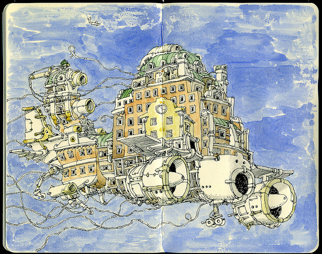 16-Inflight-Mattias-Adolfsson-Surreal-Architectural-Moleskine-Drawings-www-designstack-co