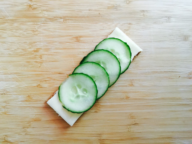 Finn Crisp sour dough rye cracker with cheese and cucumber