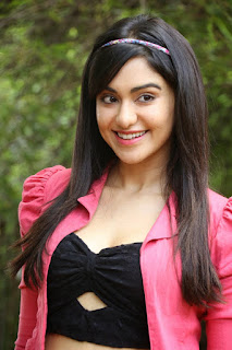 Adaha Sharma in Flower printm ini Skirt and Deep neck Half Top Cute Smile