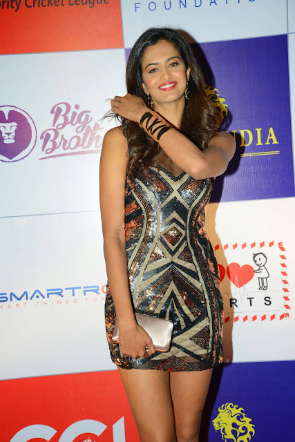 Actress Shubhra Ayyappa  Pictures in Short Dress at CCL Charity Dinner 14.JPG
