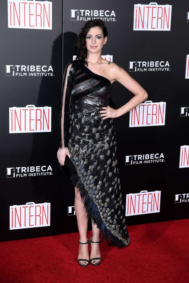 Anne Hathaway is glamorous in an off shoulder sequinned dress at 'The Intern' NY premiere