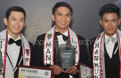 Manhunt Philippines 2013 winners: (from left) Justine Hizon (1st runner up), Jamiel Ventosa (winner), Renz Maun (2nd runner up)