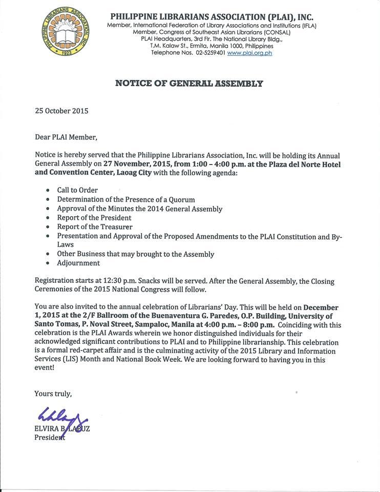 PLAI - Southern Tagalog Region Librarians Council: PLAI : 2015