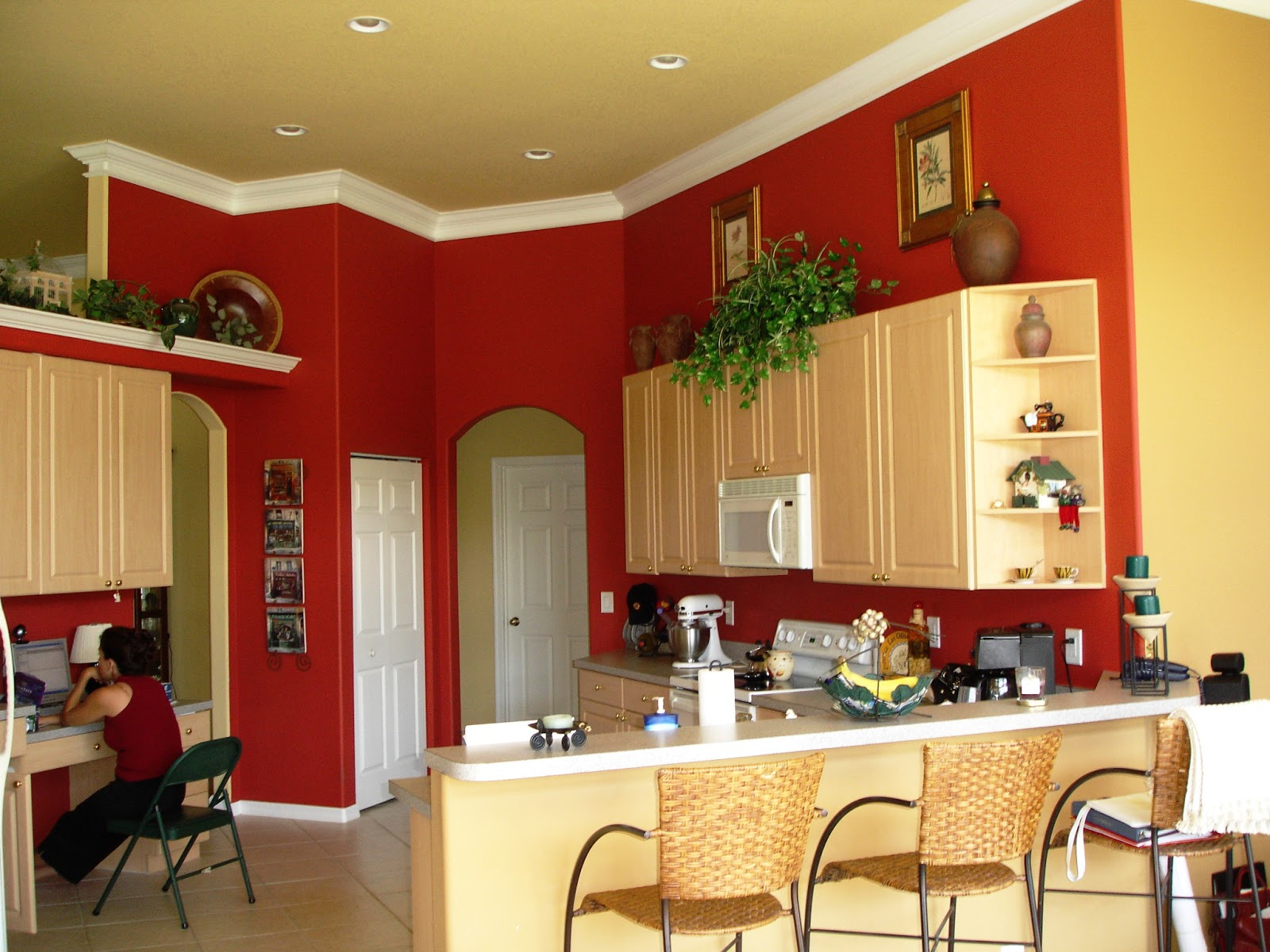 Red Kitchen Wall Ideas Part - 25: Gray Painted Kitchen Cabinets