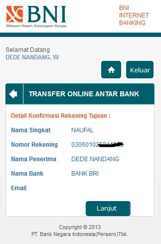 cara transfer antar bank di bni internet banking mobile