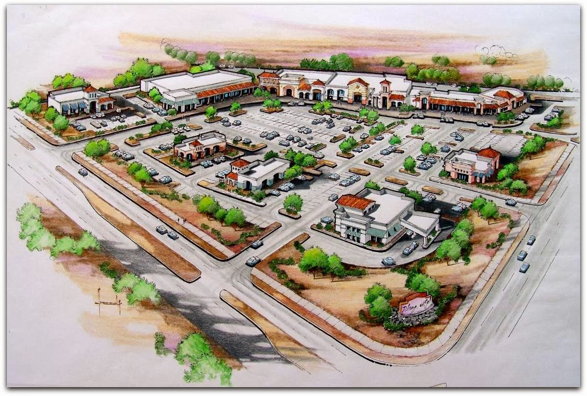 an artists rendering shows what a future shopping center may look like at redd road and s desert blvd from the marketing brochure at - Floor Plan Sites